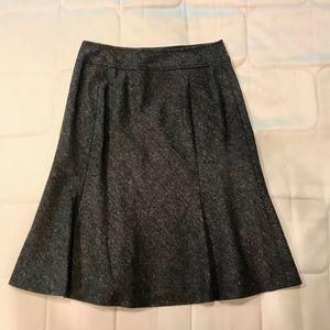 Ann Taylor Dark Grey A Line Flare Skirt